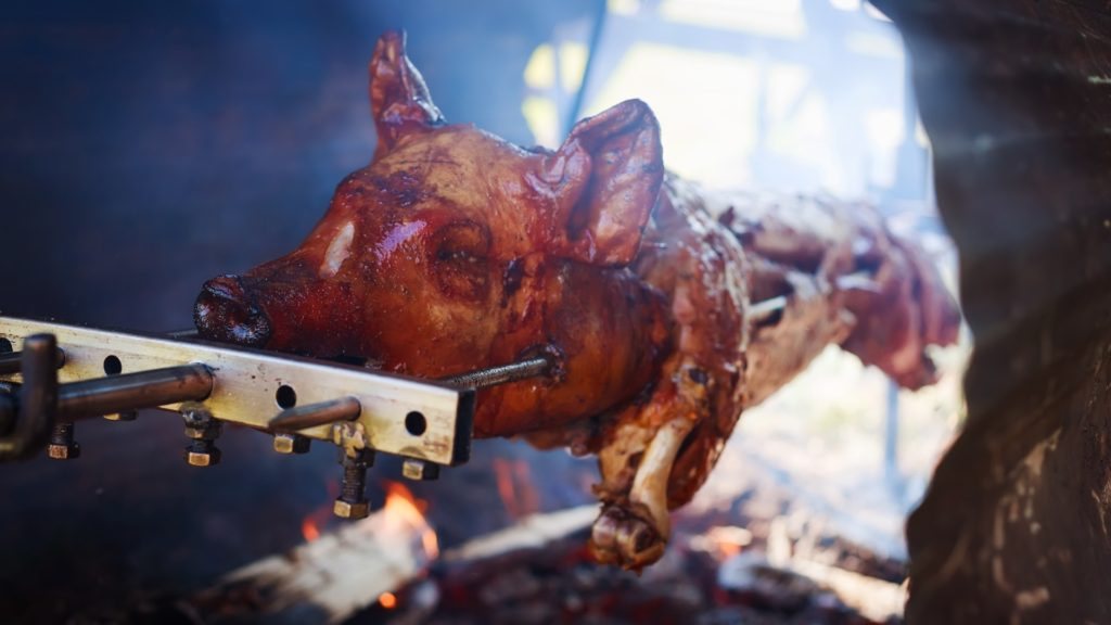 Roasting young pig in the fireplace